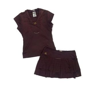 ADIDAS YOC Tennis Skirt Top Outfit Set Purple Gold